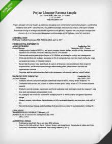 Project Manager Resume Template by Project Manager Resume Sle Writing Guide Rg