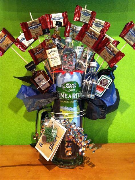 man gift liquor bouquet in beer mug no instructions