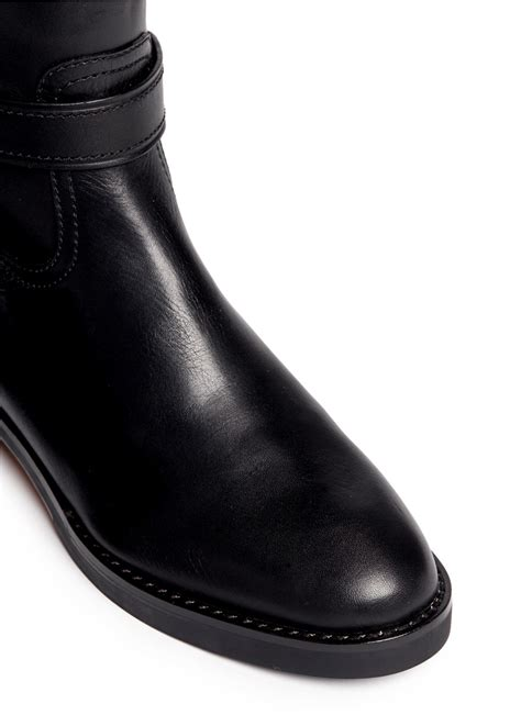 coach toe leather black knee high boot in