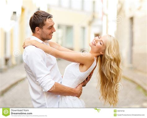 What Is Couples Smiling In The City Stock Photography