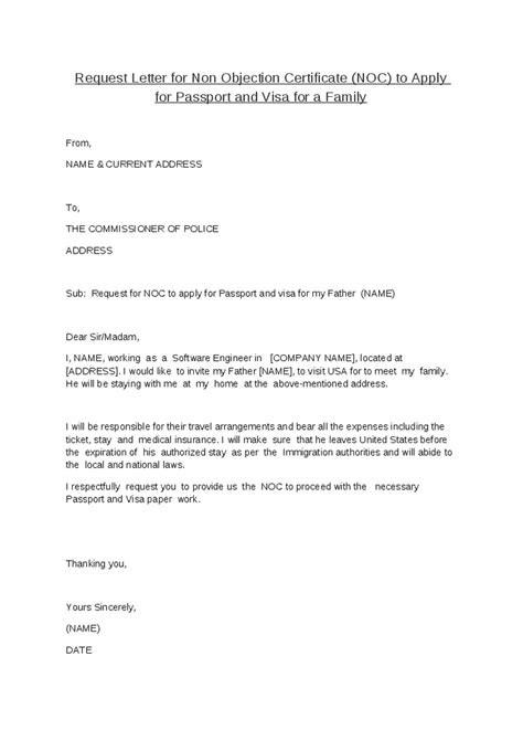 Visa Noc Letter Request Letter For Non Objection Certificate Noc To Apply For Passport And Visa For A Family