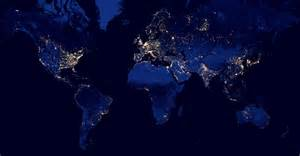 map of lights in the sky exploring global light pollution with