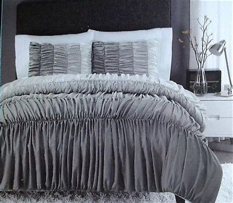 gray ruffle comforter new cynthia rowley ruched ruffled comforter shams