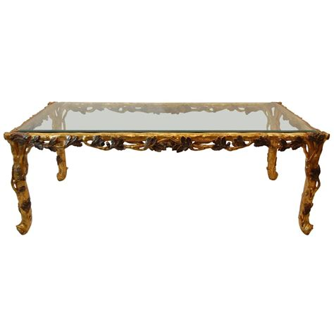 gold and wood coffee table gold leaf carved wood coffee table with beveled