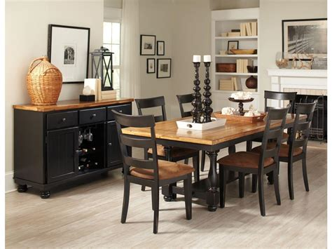 country style dining room sets with black painted dining table and chairs with brown fabric