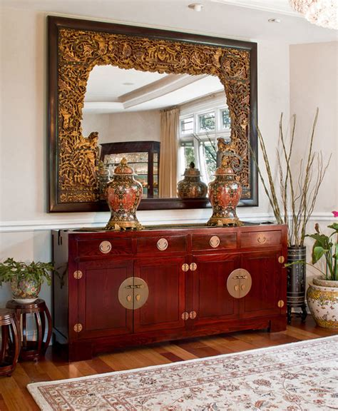Vintage Japanese Dining Room Elmwood Mahogany Sideboard And Antique Mirror Asian
