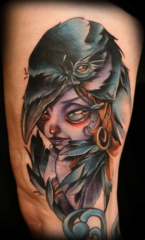 crow lady tattoo by kelly doty tattoonow
