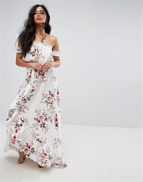 Dsjt217112824244 Mini Dress Lengan Ruffle Motif Floral boohoo boohoo floral shoulder ruffle maxi dress