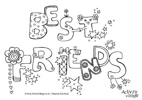 doodle free with friends best friends colouring page