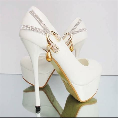 Gold Wedding Pumps by White Wedding Pumps With Gold Bling Pictures
