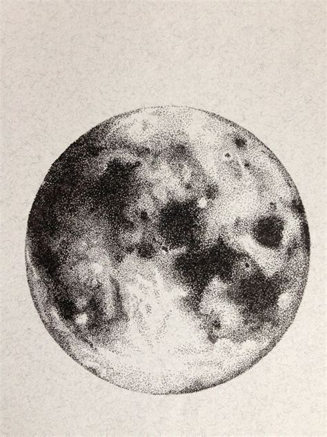 Drawing The Moon by Moon Ink Drawing Original Drawing Illustration