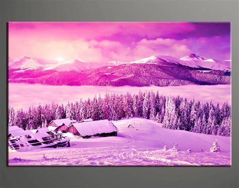 1 landscape mountain purple canvas