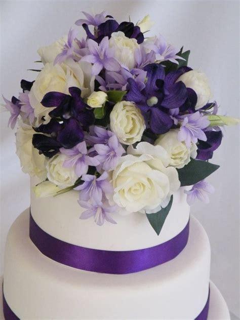 Wedding Cake Topper Purple Decoration Silk Flowers. This