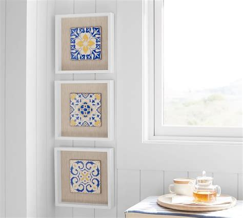 ceramic tile set of 3 decorative wall tile tiles homemade ceramic wall tile shadowbox set of 3 pottery barn