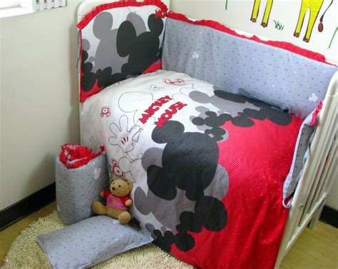 Mickey Mouse Baby Crib Bedding Baby Bedding Crib Cot Sets 7 Pc Mickey Mouse Theme Rrp 135 Ebay