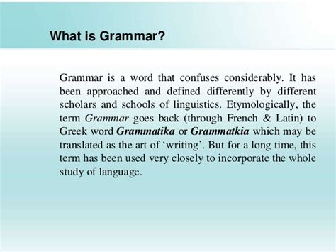 what is the origin of the word grammar and its types