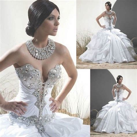 custom wedding dress 2016 vintage white crystal ball gown wedding dresses