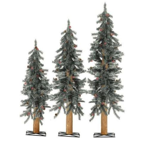 2 ft 3 ft and 4 ft unlit frosted alpine artificial
