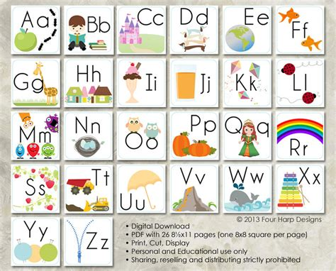 printable alphabet cards with pictures alphabet wall cards diy printable for preschool early