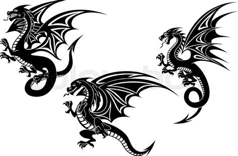 black flying dragons with carved wings in tribal style
