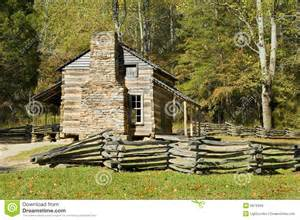 log cabin cades cove great smoky mountains royalty free