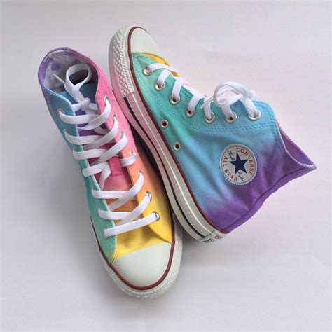 pastel rainbow tie dye high top converse