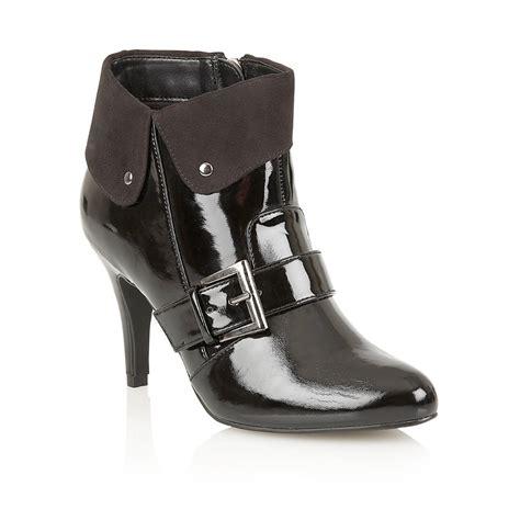 lotus lotus pavilo black shiny heeled ankle boot
