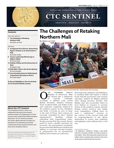 combating terrorism the challenge the challenges of retaking northern mali combating