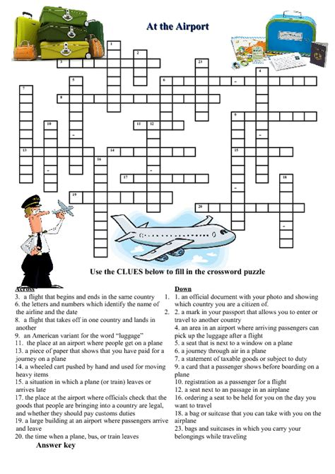 crossword puzzle printable intermediate at the airport crossword puzzle
