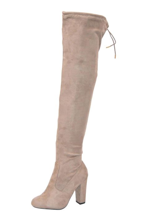 al boutique light taupe over the knee boot from south