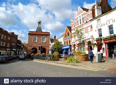 high street british companies united kingdom uk view of high street and market house reigate surrey