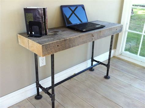 metal pipe desk new desk ideas weathered reclaimed barnwood desk modern industrial style featuring steel pipe
