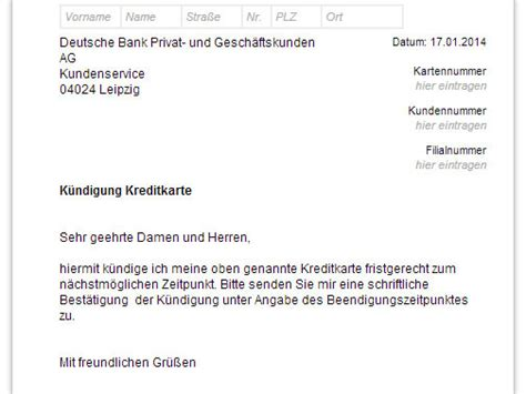 Musterbrief Kündigung Handyvertrag Vodafone Deutsche Bank Kreditkarte K 252 Ndigen Vorlage Chip