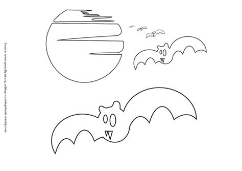 bats and full moon coloring pages