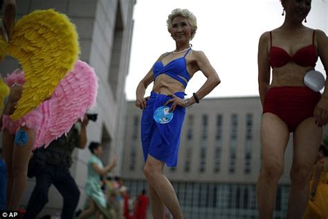 pubic bump at beauty contest middle aged and elderly women in china pose in their