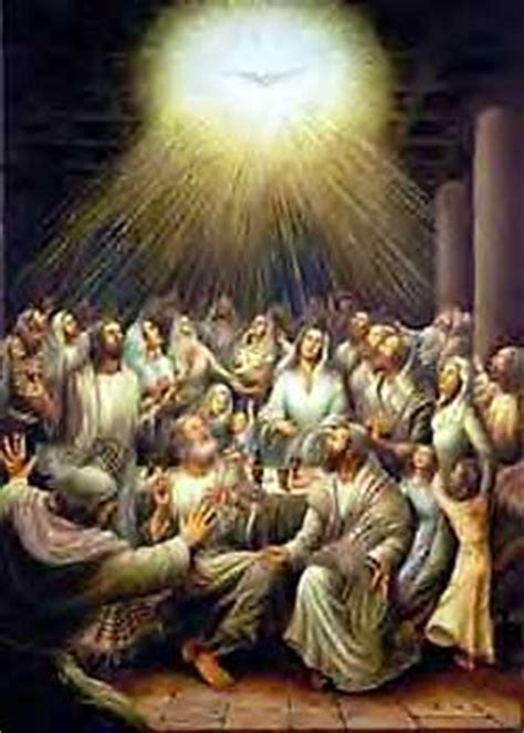 The holy spirit ascends on the apostles giving them boldness