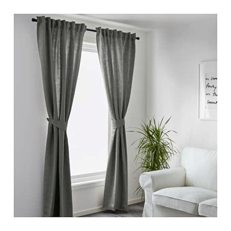 grey curtain tie backs blekviva curtains with tie backs 1 pair grey 145x250 cm
