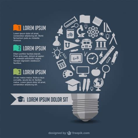 education poster design vector free download big light bulb made of school elements vector free download