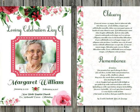 printable funeral card templates free word pdf psd