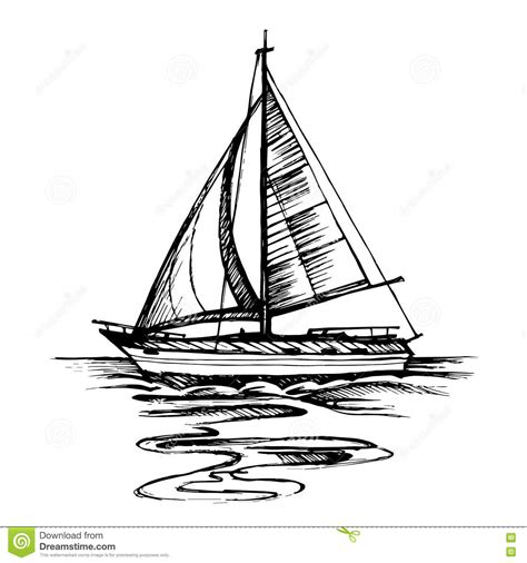 boat illustration drawing sailing boat vector sketch isolated with reflection stock