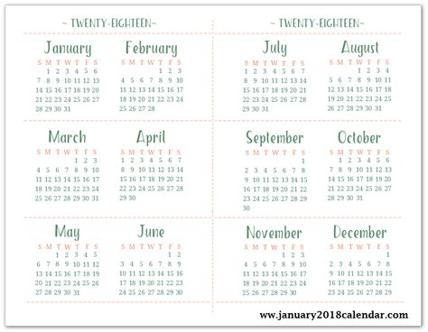 Calendar 2018 Annual Printable Calendar 2018 Yearly Calendar