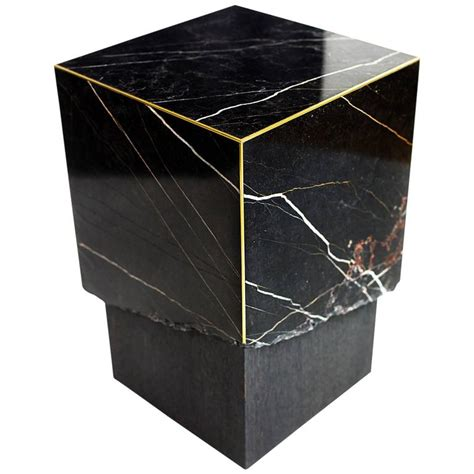 black marble end table meta end table in black marble dyed solid white oak with