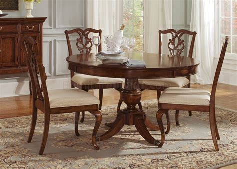 Classic Dining Tables Cinnamon Finish Classic Dining Table W Pedestal Leg