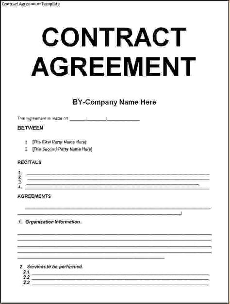 Agreement Letter Contract 5 Contract Agreement Templatereport Template Document Report Template