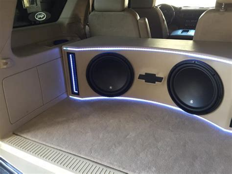 chevy tahoe jl audio subwoofer box build  installation explicit customs