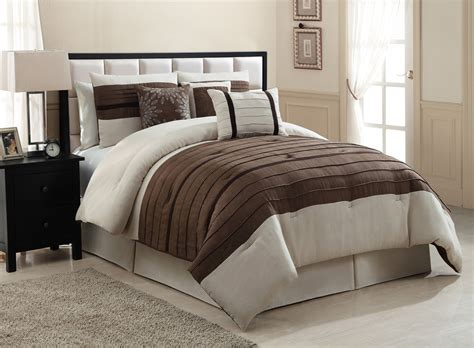 micro suede comforter set 7 piece queen city loft brown and beige micro suede