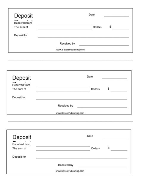 free printable deposit receipt template best photos of deposit slip template bank deposit slip