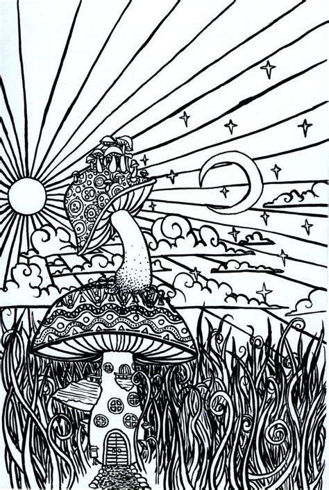 Trippy Coloring Pages Mushrooms by Pin Trippy Colouring Pages On