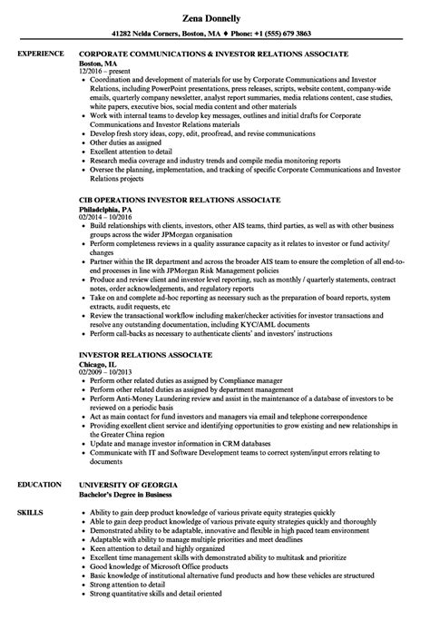 Relations Associate Sle Resume by Investor Relations Associate Resume Sles Velvet