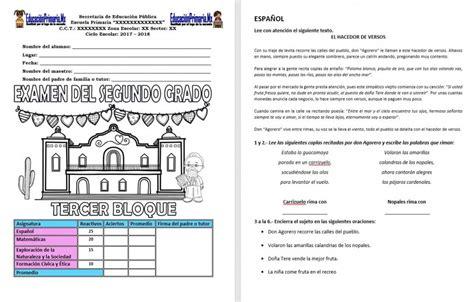 segundo grado de educacion primaria listo para imprimir material de examen del segundo grado del tercer bloque del ciclo